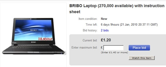 The Bribo laptop, as seen on eBay