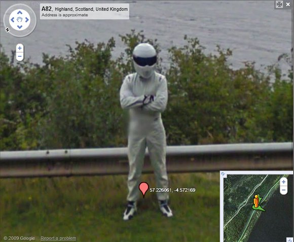 The Stig captured at Loch Ness on Street View