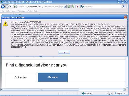 Screenshot of exploited Ameriprise webpage