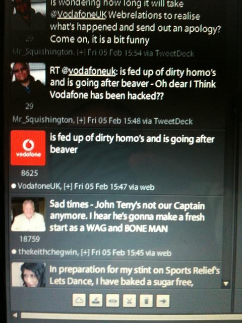 Screen shot of offensive tweet