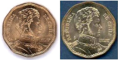 The misspelt and proper 50-peso coins