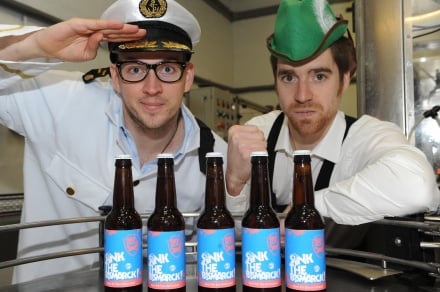Martin Dickie and James Watt with a few bottles of Sink The Bismark!