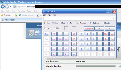 Screenshot of Windows caculator installed