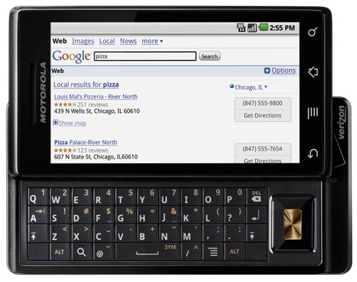 Motorola Droid - Google in browser