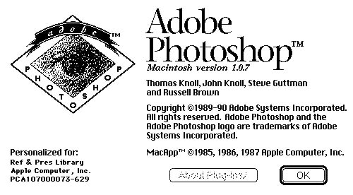 Photoshop 1.0.7 splash screen
