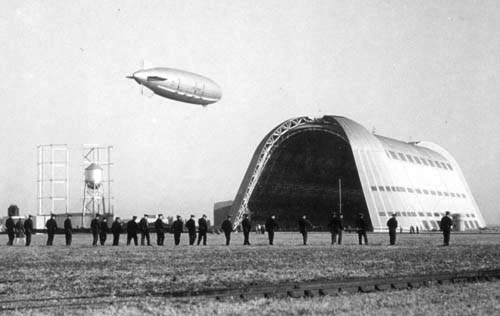 Hangar One and USS Macon, Moffett Field, California