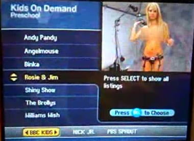 The Kids On Demand channel showing Playboy channel preview
