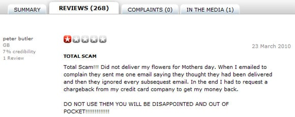Negative review for iFlorist