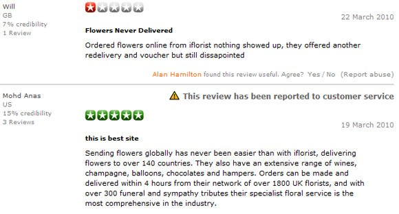 Mixed reviews for iFlorist