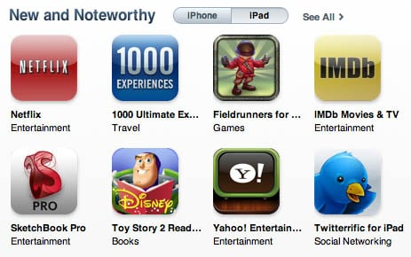 iPad apps added to Apple's iTunes App Store