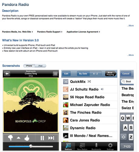 Pandora Radio's iPhone app