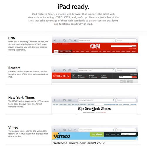 Apple's 'iPad Ready' web page