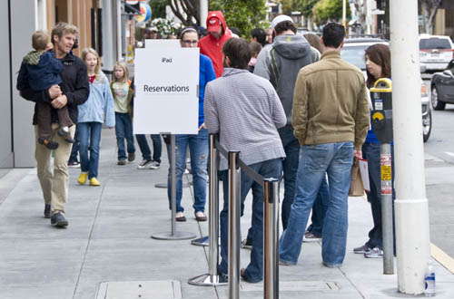 iPad reservations line at the San Francisco Chestnut Street store