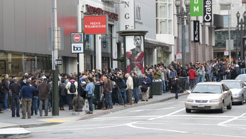 The lines outside the Stockton Street store at 9:00 a.m.