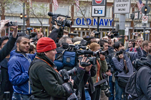 The media were in full force at the Stockton Street opening