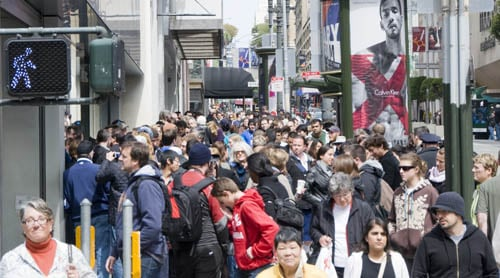 The lines were still long at noon on Stockton Street
