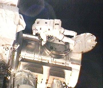 Rick Mastracchio exits the Quest airlock today. Pic: NASA TV