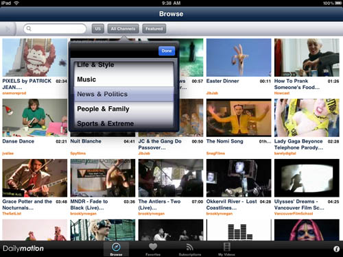 Dailymotion iPad app