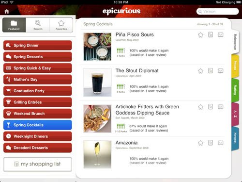 Epicurious iPad app