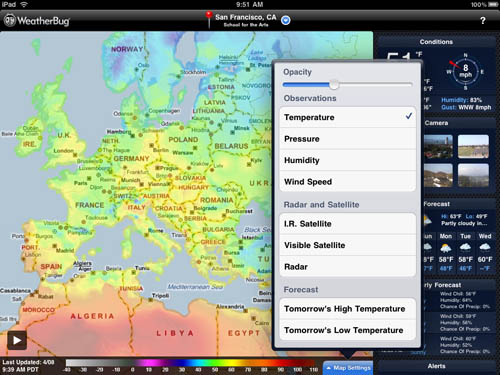 WeatherBug iPad app