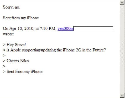 Email message from Steve Jobs about dropping iPhone 2G support