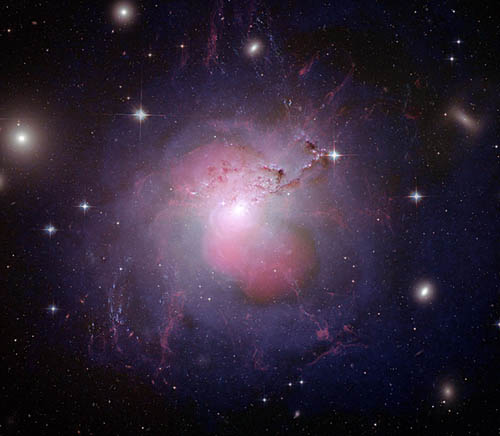 Galaxy Galaxy NGC 1275 suffering galaxicide under the influence of a supermassive black hole 