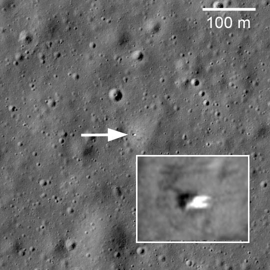 The Luna-17 lander seen from above in 2010. Credit: NASA/LROC