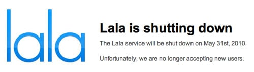 Lala's home page, announcing the shutdown