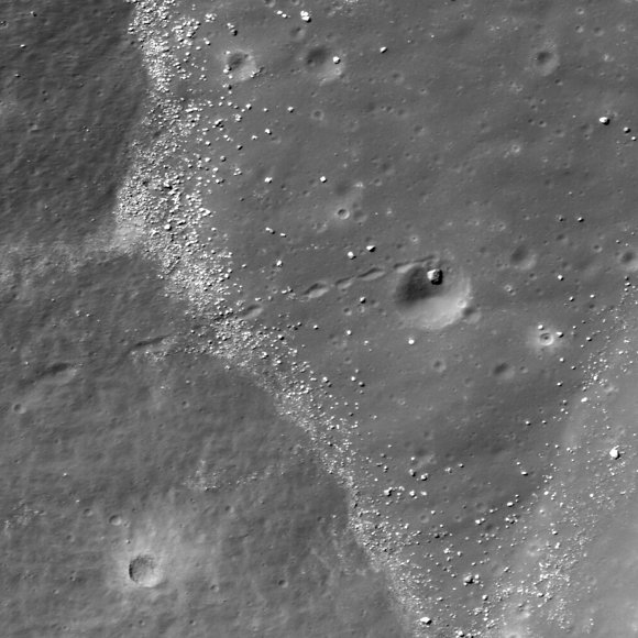 LRO imagery of a boulder trail ending in a crater. Credit: LROC