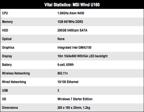 MSI Wind U160