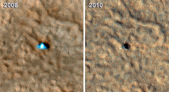 Phoenix in 2008 and 2010, captured by the Mars Reconnaissance Orbiter. Pic: NASA
