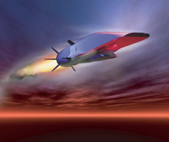Concept graphic of the Waverider in flight, during rocket boost. Credit: AF