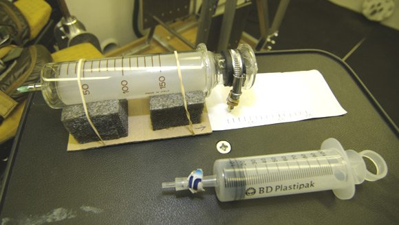 The syringe in the hypobaric chamber