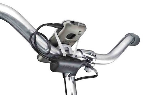 Nokia phone and charger kit on bike handlebars