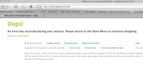 apple store error message