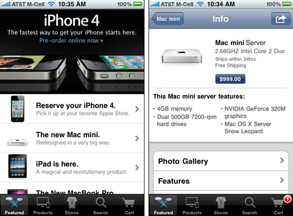 Apple online store, iPhone-app