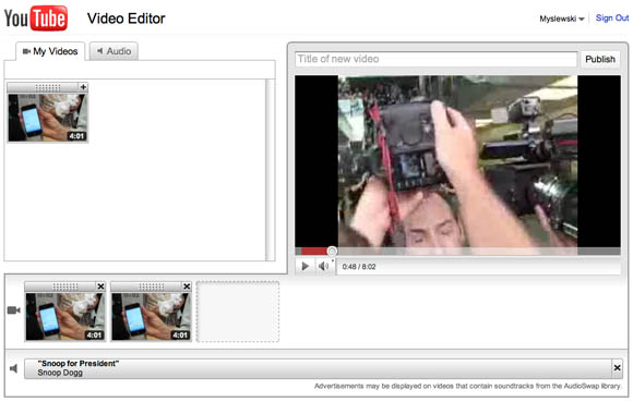 YouTube Video Editor user interface