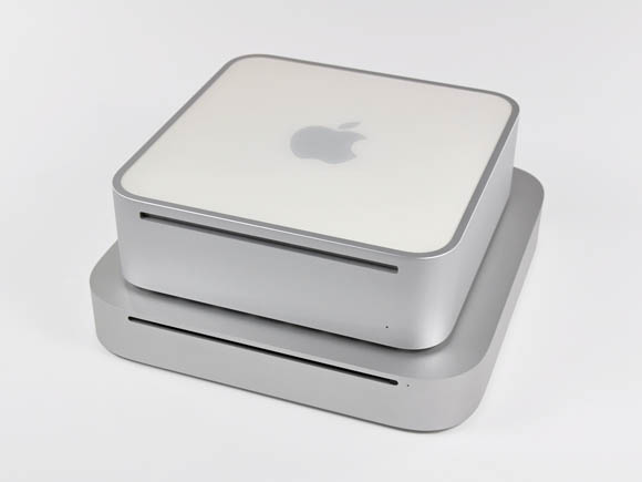 Old Mac mini sitting on top of new Mac mini
