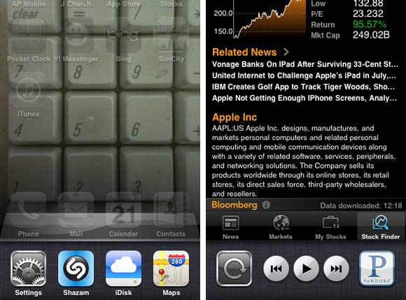 iOS 4 folder interface