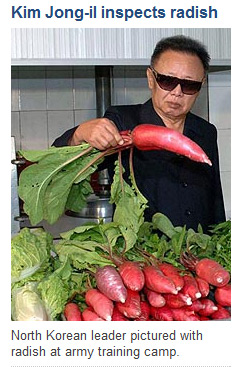 Kim Jong-Il inspects radish on Telegraph front page