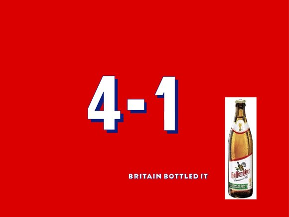 Spoof of Shepherd Neame Spitfire poster: 4-1 Britain bottled it