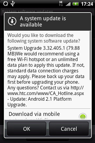 HTC Hero Android 2.1 update