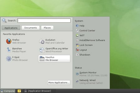 The Slab menu in OpenSUSE 11.3