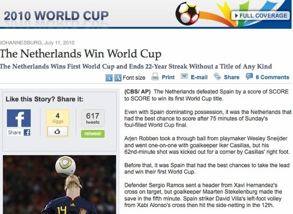 CBSNews says Holland won