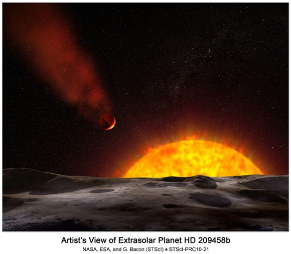 Artist's impression of HD 209458b. Pic: NASA, ESA, and G. Bacon (STScI)