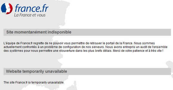 Official French website still down this morning