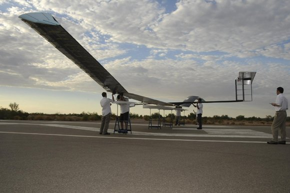 The Zephyr solar-powered UAV before trials in Arizona. Credit: Qi