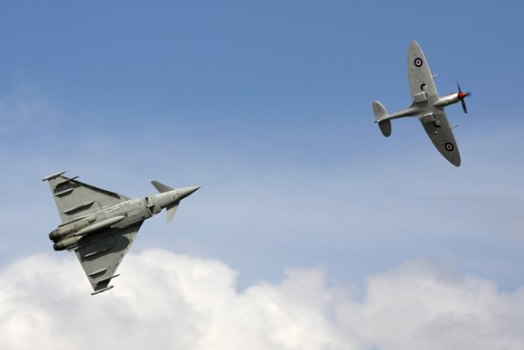 Eurofighter and BBMF Spitfire. Credit: Karl Drage