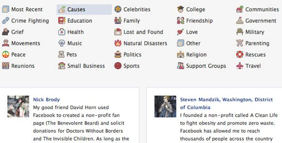 Facebook Stories - themes navigation