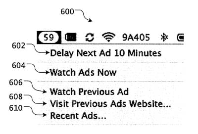 Illustration from Apple's 'Advertisement in Operating System' patent application
